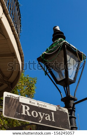 Royal street sign in the French Quarter in New Orleans, Louisiana. - stock photo