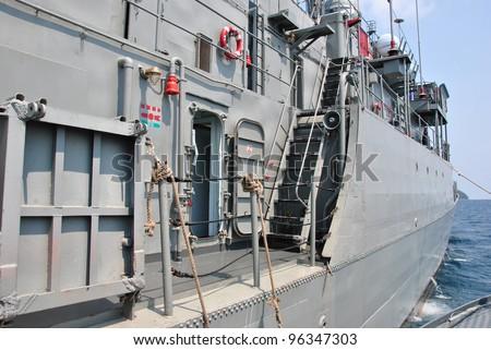 Royal Thai navy ship at Surin island national park, Thailand - stock photo