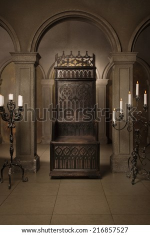 Royal throne in the medieval castle - stock photo