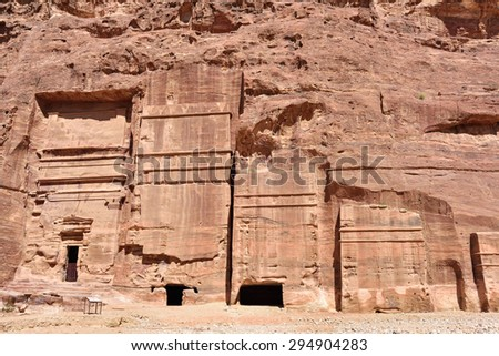 Royals Tombs in lost city of Petra, Jordan - stock photo