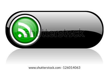 rss black and green web icon on white background - stock photo