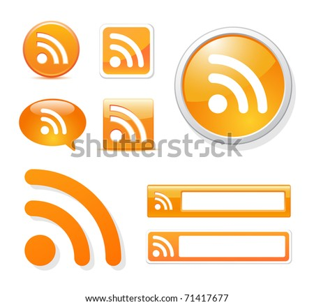 rss icons in different styles on white - stock photo