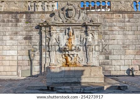 Rua Escura Fountain located near the Porto Cathedral and the pillory. 17th century architecture. Porto, Portugal. Unesco World Heritage Site - stock photo
