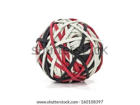Rubber band ball shot on white. - stock photo