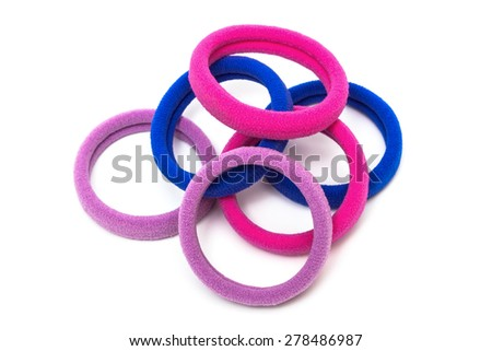 rubber bands for hair on a white background - stock photo
