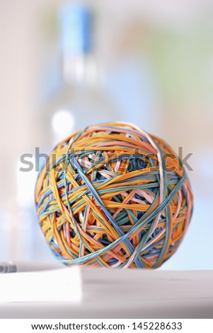 Rubber bands in ball - stock photo