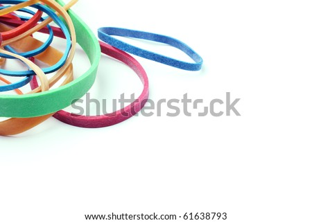 Rubber bands on a white background with space. - stock photo