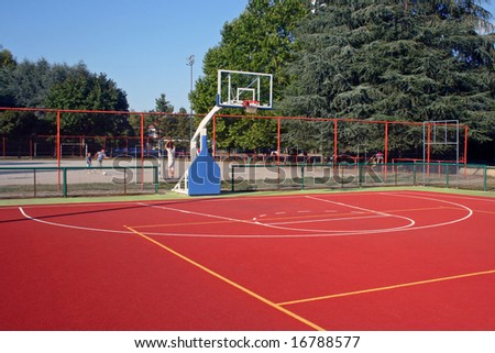 Rubber basket ball terrain, one half side. - stock photo