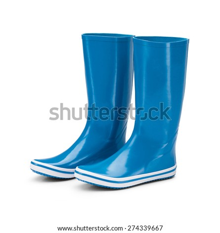 rubber boots isolated on white background - stock photo