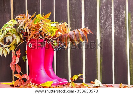 Rubber boots (rainboots) and autumnal leaves are on the wooden empty fence background. Autumn. Copy space for your text. Creative, activity, leisure, travel concept.  - stock photo