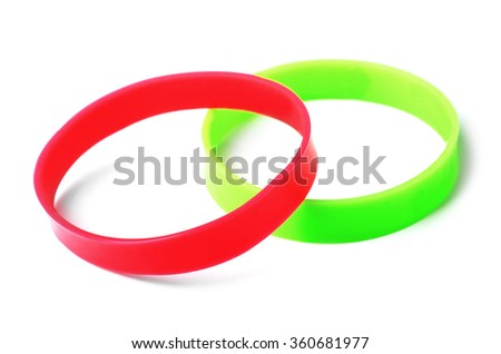 Rubber bracelets isolated on a white background  - stock photo