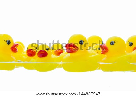 rubber duck in water - stock photo