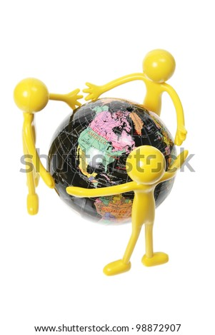 Rubber Figures and World Globe on White Background - stock photo