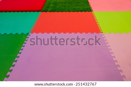 rubber foam for baby play in playroom. - stock photo