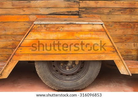 rubber from wood car  - stock photo