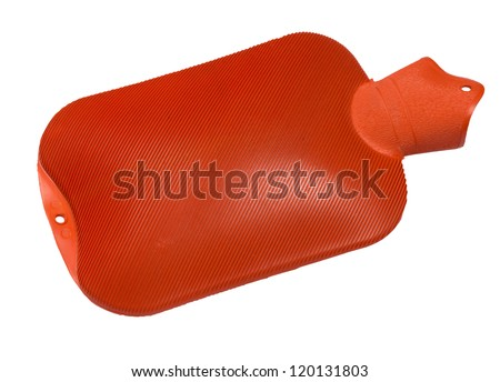 Rubber hot water bag, isolated against background - stock photo