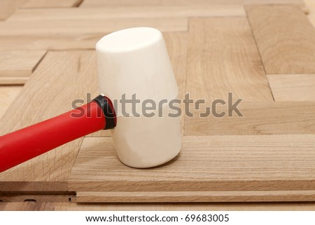 rubber mallet for parquet - stock photo