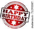 """Rubber stamp illustration showing """"HAPPY BIRTHDAY"""" text - stock photo"""