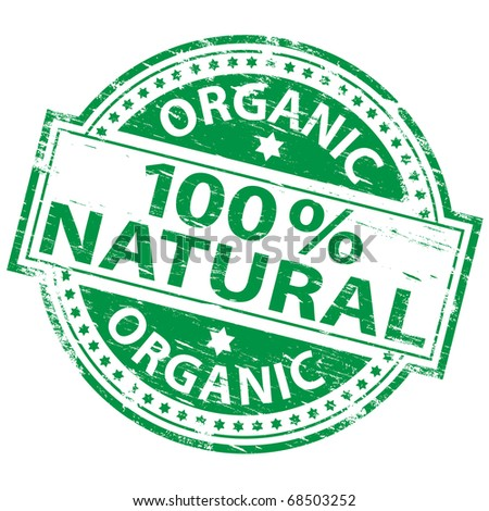 "Rubber stamp illustration showing ""100 Percent Natural"" text - stock photo"