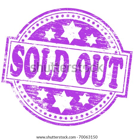 """Rubber stamp illustration showing """"SOLD OUT"""" text - stock photo"""