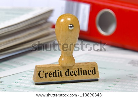 rubber stamp marked with credit declined - stock photo
