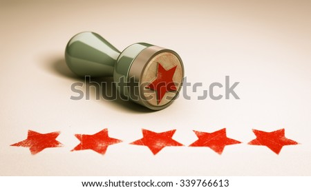 Rubber stamp over paper background with five stars printed on it. concept image for illustration of high customer experience and quality level  - stock photo