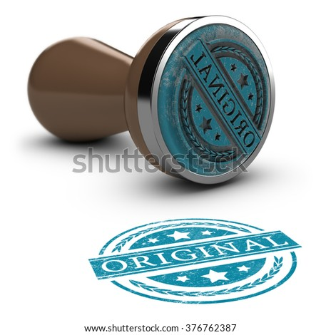 Rubber stamp over white background with the text original printed on it. Concept image for illustration of original copy or against counterfeit. - stock photo