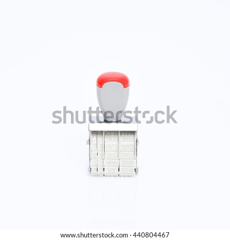 Rubber stamp, Rubber stamp isolated on white background. - stock photo