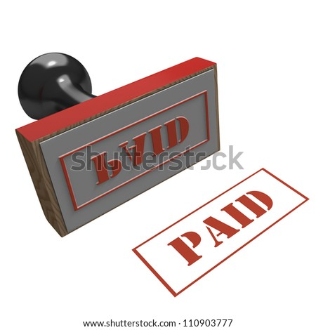 Rubber Stamp with message of Paid on a white background - stock photo