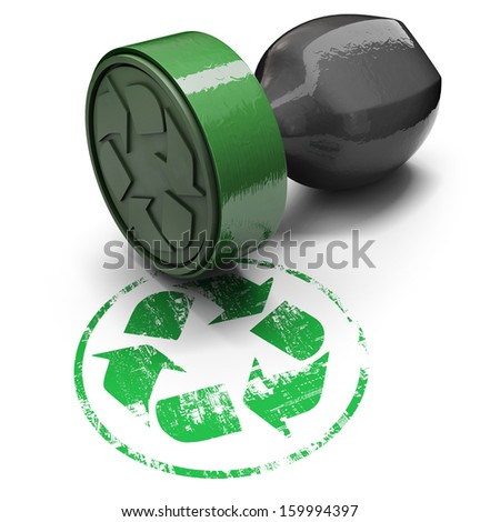 Rubber stamp with recyclable symbol, isolated on white background - stock photo