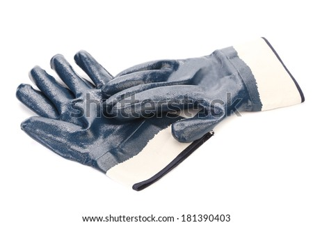 Rubbers protective blue gloves. - stock photo