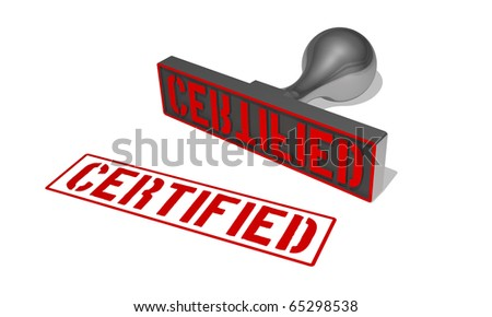 rubberstamp certified - stock photo