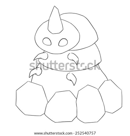 Rubble Monster Line Art - Character Design - stock photo