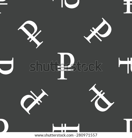 Ruble symbol repeated on grey background - stock photo