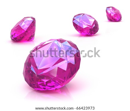 Ruby gemstones on white surface - stock photo