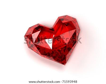 ruby heart - stock photo
