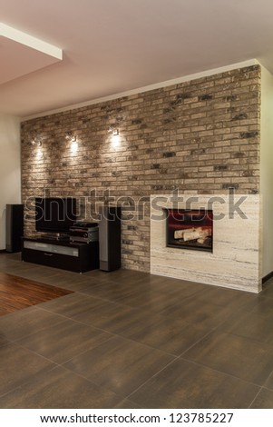 Ruby house - Interior of new and modern living room - stock photo