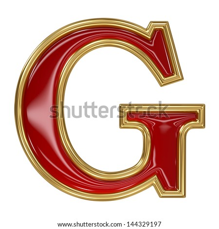 Ruby red with golden outline alphabet letter symbol - G - stock photo