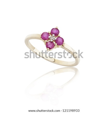Ruby ring on golden body shape the most luxurious gift - stock photo