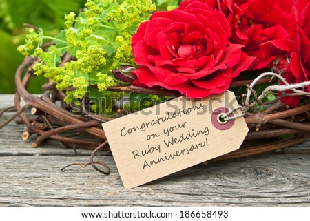 Ruby Wedding Anniversary card with red roses/Congratulations on your Ruby Wedding Anniversary/english - stock photo