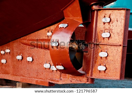 Rudder and propeller of a fish trawler after maintenance - stock photo