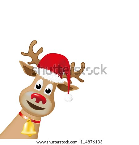 Rudolph reindeer, with red nose and a red Christmas hat - stock photo