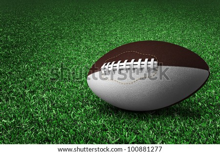 rugby ball on field - stock photo