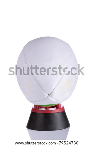 Rugby ball on white with copy space - stock photo