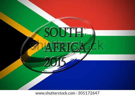 rugby ball placed on a south african map with the words south africa 2015 written on it - stock photo
