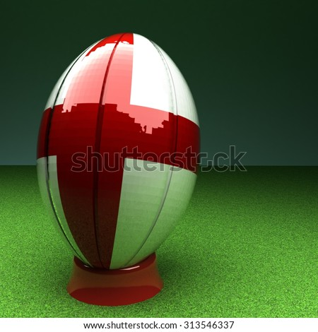 Rugby ball with England flag over green grass field, 3d render, square image - stock photo