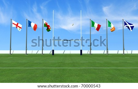 rugby field with the flags of the teams in the six nations tournament - stock photo