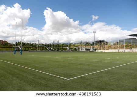 Rugby football playing field corner - stock photo