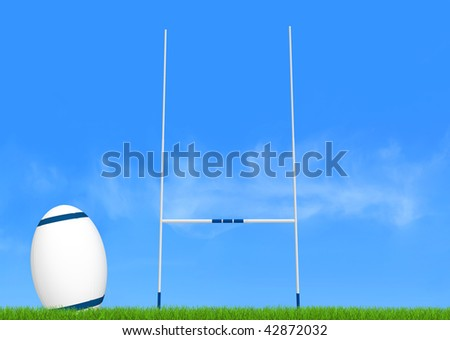 rugby goal post and ball on green-the image on back ground is a my photo - stock photo