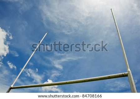 rugby goalposts - stock photo